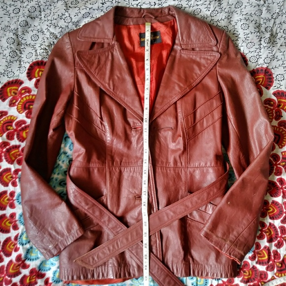 3fd25aff8 💫 VNTG 💫 Sears JR Bazaar Rust Red Leather Jacket